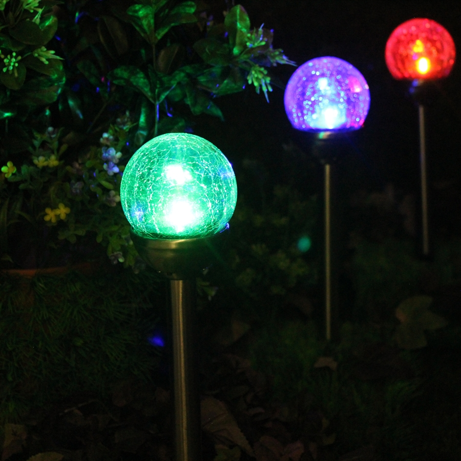 Merveilleux Crackle Glass Solar Stainless Path Lights: Color Changing U0026 White   Set Of  Six