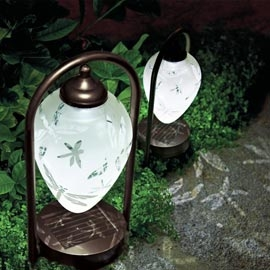 Solar Etched Dragonfly Arched Path Lights Set Of Three 3